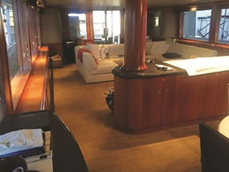 Nylon stretch-in over felt in the main salon of 130-ft. yacht.